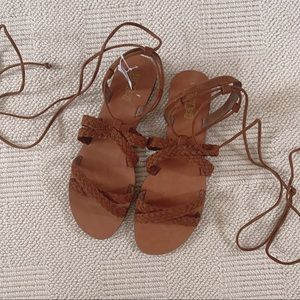 NEW Ankle Wrapped Gladiator Brown Sandals 11